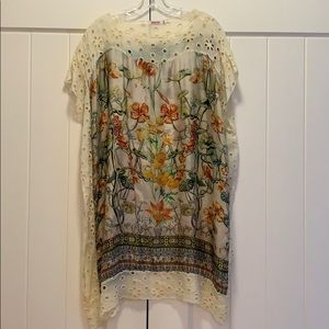 Johnny Was lace trimmed silk tunic